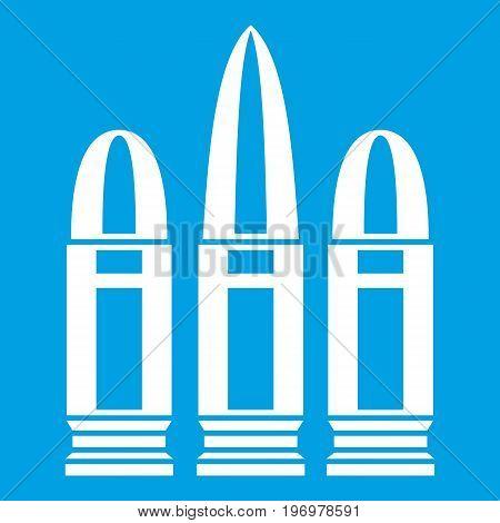 Cartridges icon white isolated on blue background vector illustration