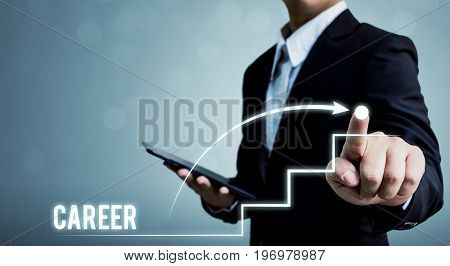 Businessman pointing dot with arrow Career growth ladder concept