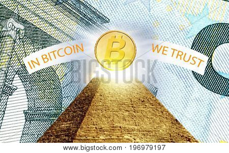 Bitcoin cryptographically secured chain In god we trust concept