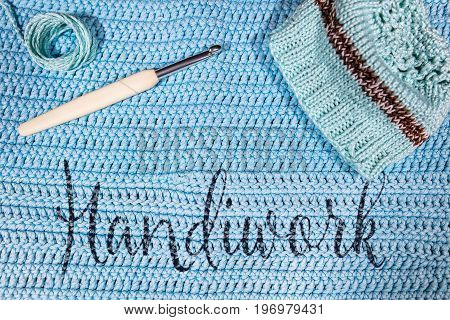 Handiwork, Blue Background For Crochet And Knitting
