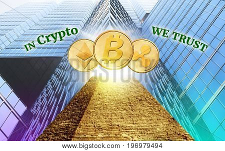 Cryptocurrency secured chain In god we trust concept