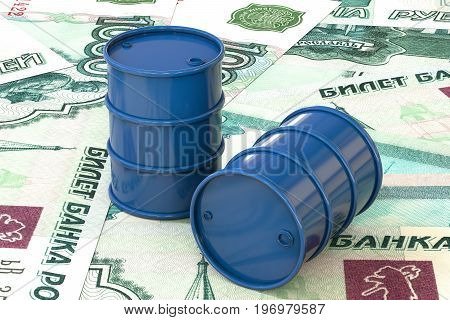 3d illustration: Blue barrels of oil lie on the background of ruble, rouble money. Petroleum business, black gold, gasoline production. Purchase sale, auction, stock exchange. Russian government.