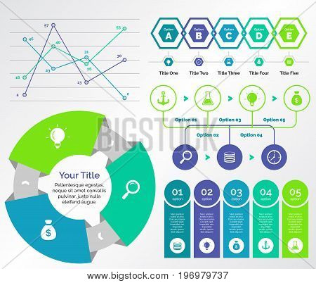 Infographic design set can be used for workflow layout, diagram, annual report, presentation, web design. Business and research concept with process and line charts.