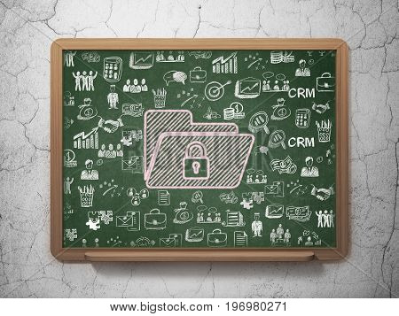 Business concept: Chalk Pink Folder With Lock icon on School board background with  Hand Drawn Business Icons, 3D Rendering