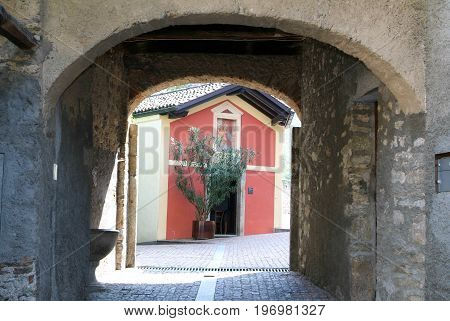 Bigogno, Switzerland - 6 July 2015: Chapel at the old village of Bigogno on the italian part of Switzerland