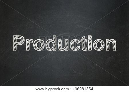 Business concept: text Production on Black chalkboard background