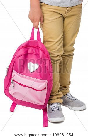 Cropped Shot Of Schoolboy Holding Pink Backpack Isolated On White