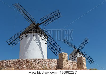 Windmills near Alcazar de San Juan Castile region Spain