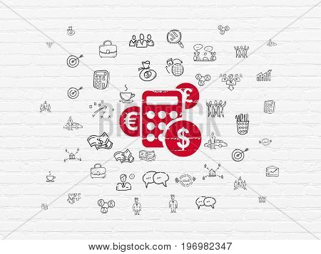 Finance concept: Painted red Calculator icon on White Brick wall background with  Hand Drawn Business Icons