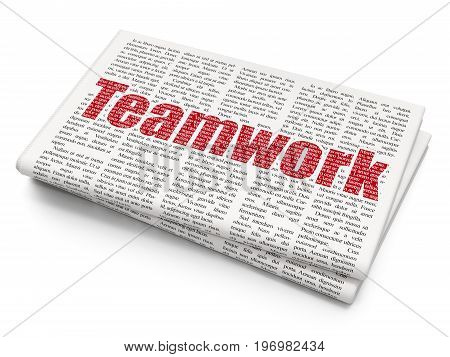 Finance concept: Pixelated red text Teamwork on Newspaper background, 3D rendering