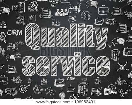 Finance concept: Chalk White text Quality Service on School board background with  Hand Drawn Business Icons, School Board