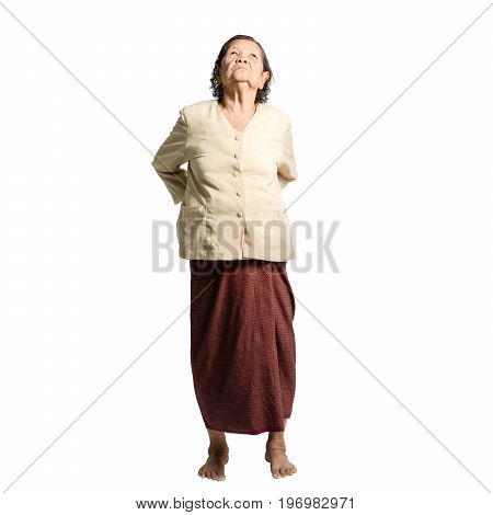 Portrait Of A Senior Woman Having A Backache. Isolated On White Background With Clipping Path