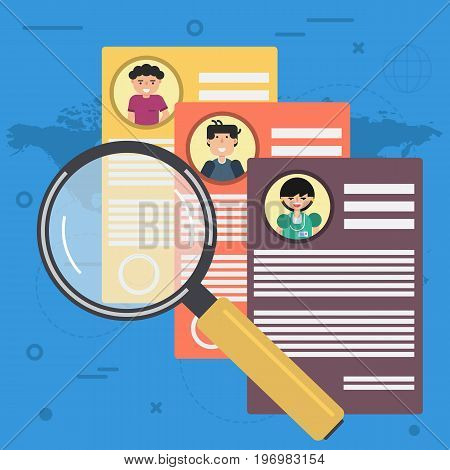 Vector illustration of three resume with magnifier glass. Concept of case study and employee searching in flat style. Square flat web banner