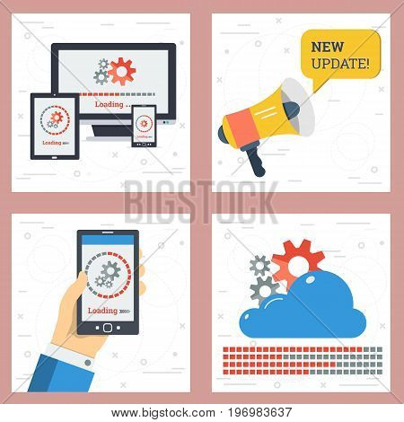 Vector four square concept of update and upload. Phone in hand, online cloud storage, megaphone calling new update and sign of loading on different devices