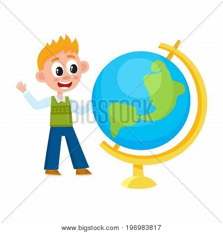 Boy, schoolboy looking at big school globe with interest, cartoon vector illustration isolated on white background. Boy looking at big globe, studying geography, back to school concept