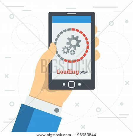 Vector square illustration - LOADING PROCESS of mobile app or update program. Hand with smart phone and round sign of uploading status isolated on white background