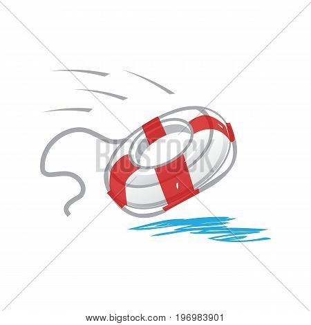lifebelt thrown to the sea, illustration design, isolated on white background.