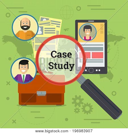 Vector illustration of three person in world with smartphone, documents, business bag and magnifier. Concept of case study in flat style