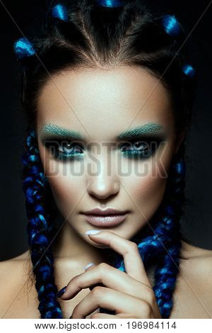 Fashion model Woman with fantasy brows. Long blowing brown hair. Fantasy Girl. Mermaid.