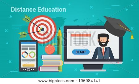 Vector concept distance education. Online teacher on computer monitor, mobile, books, student cap and goal target with arrows. Horizontal banner for e-learning, remote online training in flat style