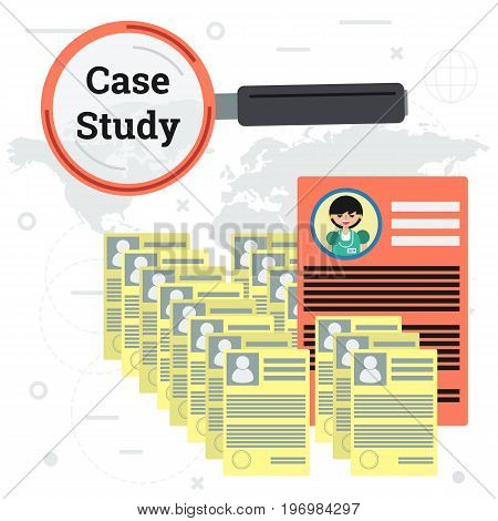 Vector illustration of many resume and documents with magnifier glass and one big red woman application. Concept of case study and employee searching in flat style. Square flat web banner