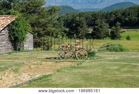 Vintage carriage on meadow at an Provence village