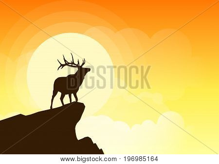 Deer silhouette on a cliff at sunset. Beautiful sunset background with deer silhouette. All in a single layer. Vector illustration.