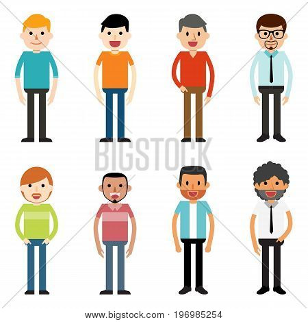 Group of working people standing on white background. Business men in flat design people characters. All in a single layer. Vector Illustartion. Elements for design.