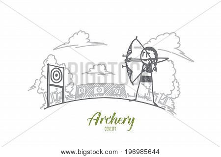 Archery concept. Hand drawn archery athlete aiming at a target in the distance. Arrow and bow in hands of sportsman isolated vector illustration.