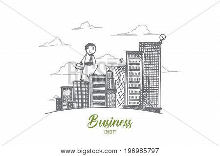 Business concept. Hand drawn businessman analyzing real estate market. Man making business growth isolated vector illustration.