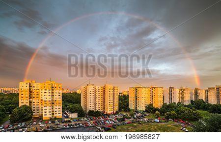 Rainbow at Sunset over Residential District Petrzalka Bratislava Slovakia.