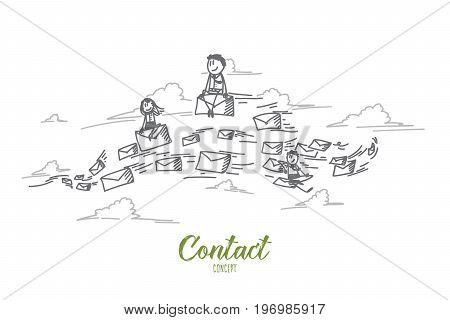 Contact concept. Hand drawn people sending e-mails to each other. Contacting through e-mails isolated vector illustration.