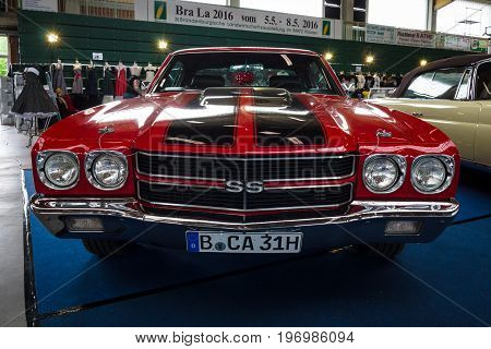 PAAREN IM GLIEN GERMANY - MAY 23 2015: Mid-size car Chevrolet Chevelle SS3454 Hardtop Coupe. The oldtimer show in MAFZ.