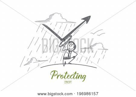 Protecting concept. Hand drawn man protecting himself. Person repulse a blow isolated vector illustration.