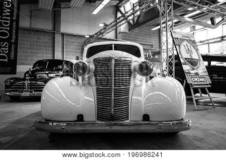 PAAREN IM GLIEN GERMANY - MAY 23 2015: Vintage car Chevrolet Master Serie GB Business Coupe. Black and white. The oldtimer show in MAFZ.