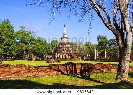 Wat Chang Lom temple and sunlight in Sisatchanalai Historical Park Sukhothai province Thailand