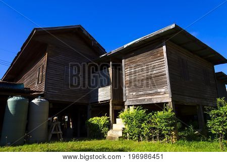 Two old house wooden and light natural in countryside Thailand.