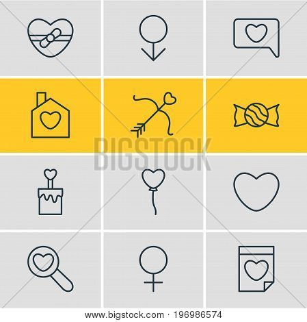Editable Pack Of Candle , Magnifier , Male Elements.  Vector Illustration Of 12 Amour Icons.