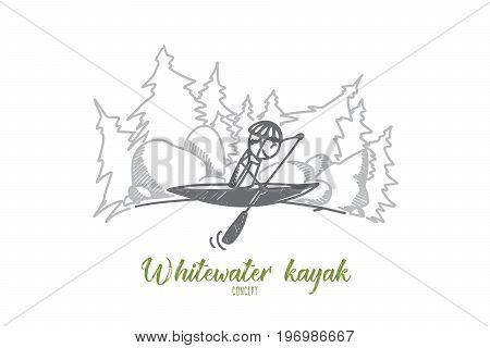 Whitewater kayak concept. Hand drawn whitewater kayaker braces in fast moving water on the river. Kayaking extreme isolated vector illustration.
