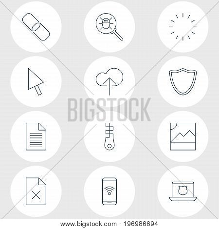 Editable Pack Of Pointer, Telephone, Chain And Other Elements.  Vector Illustration Of 12 Internet Icons.