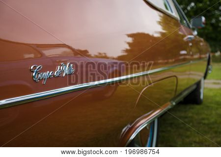 PAAREN IM GLIEN GERMANY - MAY 23 2015: Fragment of a full-size luxury car Cadillac Coupe de Ville. The oldtimer show in MAFZ.