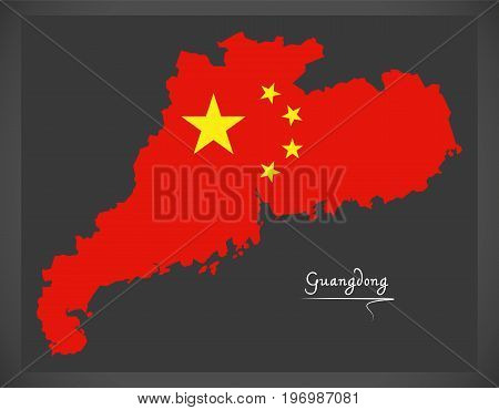 Guangdong China Map With Chinese National Flag Illustration