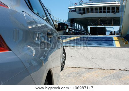 Car waiting to board a ferry in Greece Europe