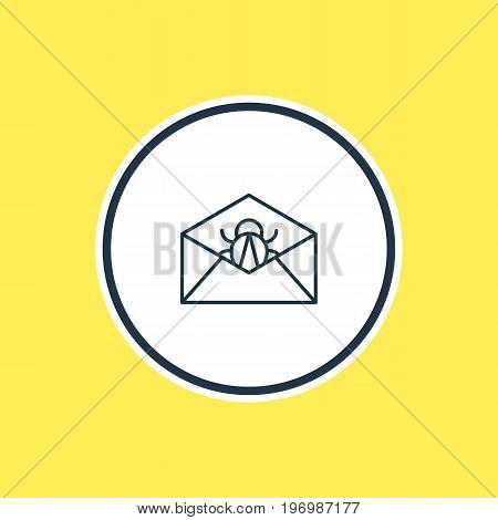 Beautiful Privacy Element Also Can Be Used As Corrupted Mail Element.  Vector Illustration Of Spam Outline.