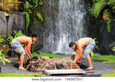 Honolulu Hawaii - May 27 2016: Two young Hawaiian men at the Polynesian Cultural Center uplift a pig cooked in the traditional style Kalua utilizing an Imu (under ground oven)