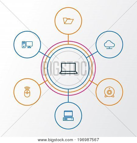 Computer Outline Icons Set. Collection Of Laptop, PC, Storage And Other Elements