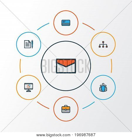 Trade Colorful Outline Icons Set. Collection Of Message, Team, Pie Chart And Other Elements