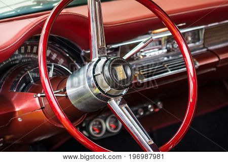 PAAREN IM GLIEN GERMANY - MAY 23 2015: Cabin of a vintage car Chrysler New Yorker 1966. The oldtimer show in MAFZ.