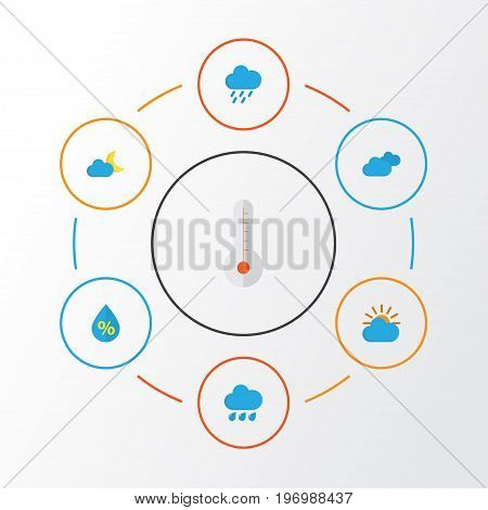Weather Flat Icons Set. Collection Of Crescent, Overcast, Shower And Other Elements