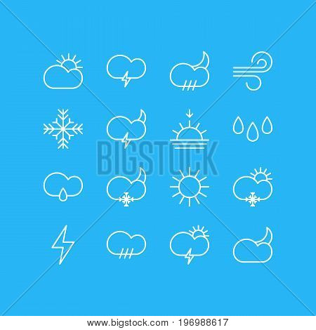 Editable Pack Of Moon Month, Sun, Snowflake And Other Elements.  Vector Illustration Of 16 Sky Icons.